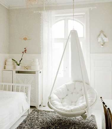 une chambre ado fille cocooning en blanc. Black Bedroom Furniture Sets. Home Design Ideas