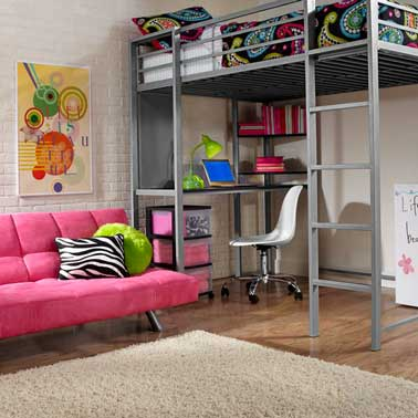 une chambre ado fille style industriel. Black Bedroom Furniture Sets. Home Design Ideas