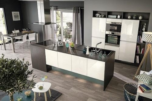 une cuisine americaine moderne blanc laque so cooc. Black Bedroom Furniture Sets. Home Design Ideas
