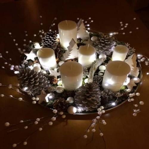 Une deco noel pour la table un plateau decoratif lumineux - Decoration de table pour noel ...
