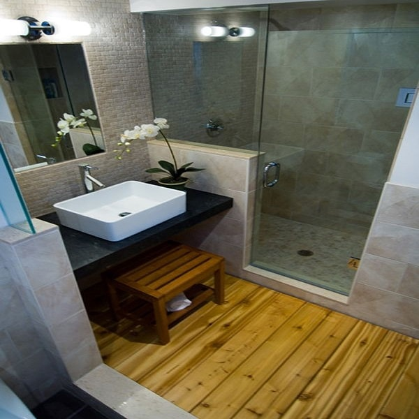 une petite salle de bain zen amenagee avec douche. Black Bedroom Furniture Sets. Home Design Ideas