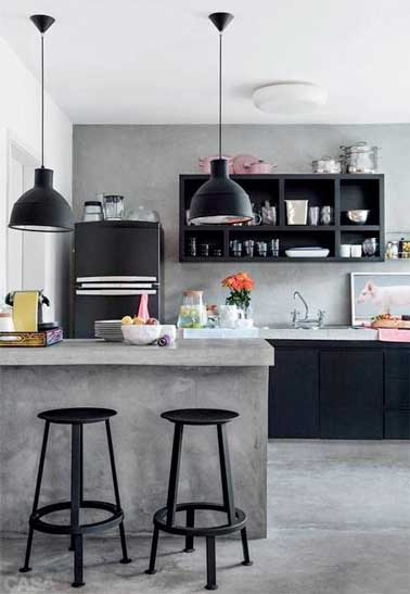b ton cir sur carrelage sol et mur dans la cuisine. Black Bedroom Furniture Sets. Home Design Ideas