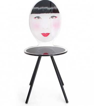 Chaise en plexiglas imprimé trompe l'oeil bois et métal. Fabrication 100% française. Quatre modèles uniques de photos à choisir Chaises Asian Acrila. Prix : 410€ Mon design.com