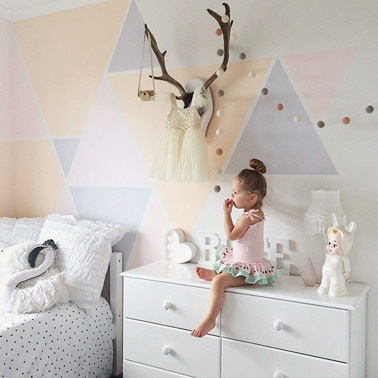 chambre de petite fille aux couleurs pastel. Black Bedroom Furniture Sets. Home Design Ideas
