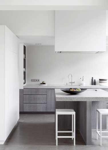 graphique la cuisine grise se marie avec du blanc sur les murs les meubles et - Cuisine Grise Et Blanc