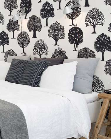 d co de chambre contemporaine avec papier peint motifs. Black Bedroom Furniture Sets. Home Design Ideas