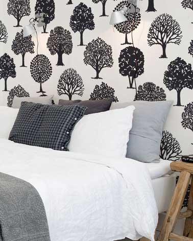 Du papier peint à motifs posé sur un mur de la chambre donne de l'allure à la déco. A vous de coordonner les motifs du papier avec la couleur de la chambre
