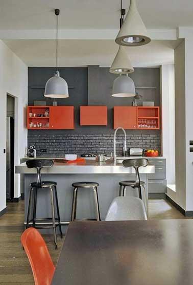 Quelle couleur mettre avec une cuisine grise for Deco cuisine gris et orange