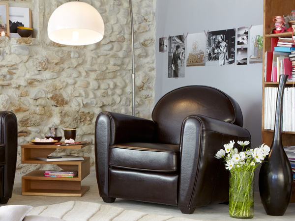 fauteuil en cuir couleur chocolat en solde chez alinea. Black Bedroom Furniture Sets. Home Design Ideas