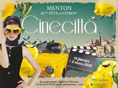 Du 13 février au 2 mars 2016 , venez découvrir la 83ème édition de la fête du citron à Menton avec le thème de Cinecittà. Au programme : feux d'artifices, de nombreuses animations et représentations, et des expositions nocturnes féériques. Un rendez-vous incontournable, à ne surtout pas manquer!