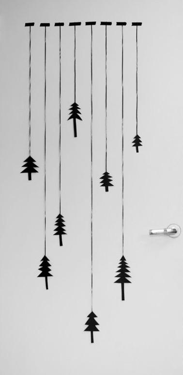 Guirlande en papier à motifs sapins, idéale à fabriquer avec les enfants et à coller sur les portes pour une ambiance de Noël encore plus festive !