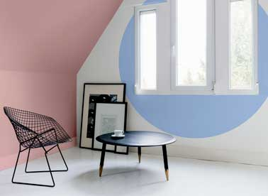 peinture couleur pastel salon rose et bleu de tollens. Black Bedroom Furniture Sets. Home Design Ideas