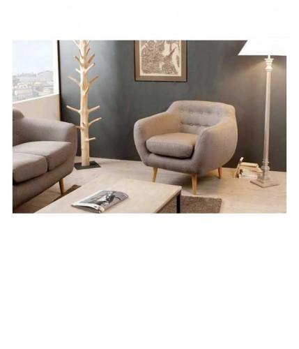 Petit fauteuil en tissu taupe dossier capitonn delamaison - Petit fauteuil capitonne ...