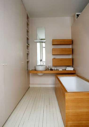 Petite salle de bain couleur habillage baignoire bambou - Deco salle de bain bambou bois ...
