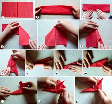 Pliage de serviettes de no l en papier pour les enfants for Pliage deco noel