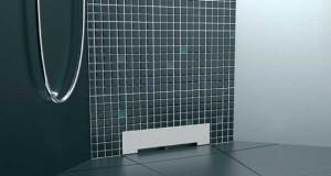 La douche italienne a un nouveau concept de receveur. dernier né de sa gamme de receveurs dedouche Lazer, l'écoulement se faitdirectement dans le doublage du mur de la douche.