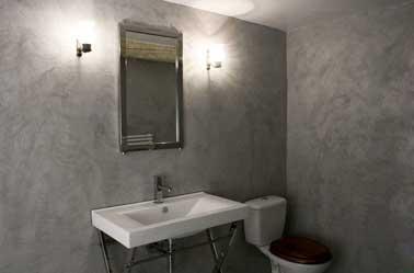 salle de bain avec murs gris en béton ciré sur carrelage | - Beton Cire Sur Carrelage Mural Cuisine