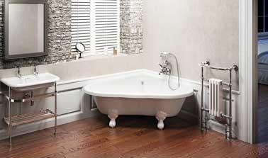 salle de bain zen avec petite baignoire d'angle - Lavabo Retro Salle De Bain