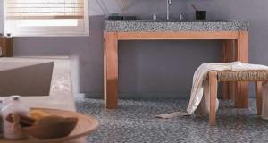 Lesol PVC salle de bain un revêtement à adopter pour sa déco. Un PVC aux allures de carrelage ou de parquet pour un sol salle de bain à l'effet déco bluffant et rapide pour relooker sa salle de bain.
