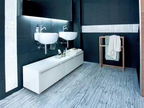 Sol vinyle effet graphique dans la salle de bain tarkett for Moquette effet parquet