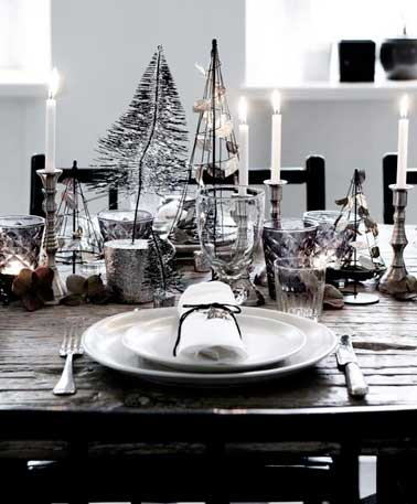 Table de no l boh me chic d co noir et argent - Deco table noel chic ...