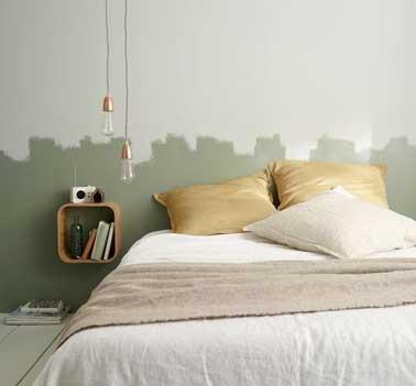 T te de lit d co en peinture naturelle pour la chambre for Peinture pour une chambre cocooning