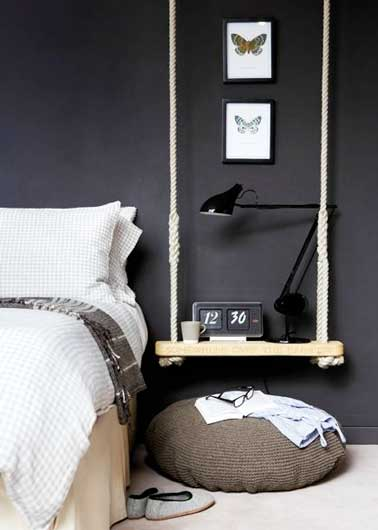 un chevet d co original faire soi m me pour la chambre. Black Bedroom Furniture Sets. Home Design Ideas
