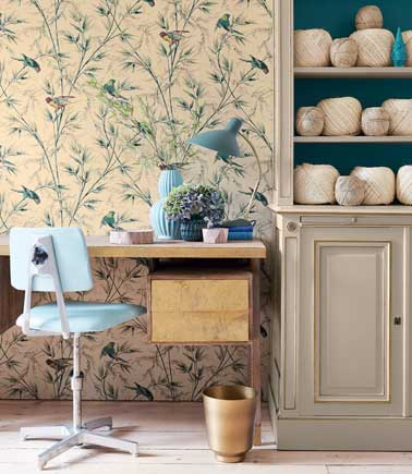Papier peint la tendance 2016 avec le papier little greene for Bureau de salon