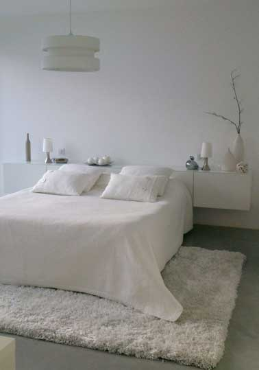 un tapis blanc douillet pour d corer la chambre. Black Bedroom Furniture Sets. Home Design Ideas