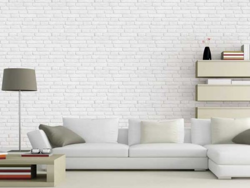 ambiance loft avec papier peint effet brique leroy merlin. Black Bedroom Furniture Sets. Home Design Ideas