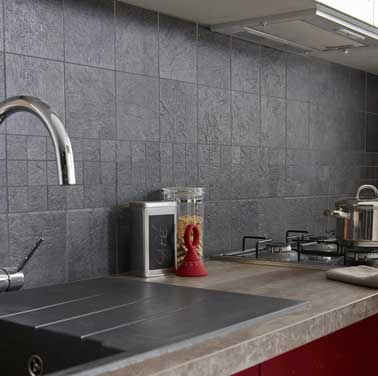 Carrelage mural couleur gris anthracite leroy merlin for Carrelage mural rouge pour cuisine