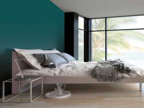 couleur gris urbain sur un mur de chambre parentale. Black Bedroom Furniture Sets. Home Design Ideas