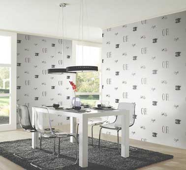 cuisine moderne avec un papier peint intiss chantemur. Black Bedroom Furniture Sets. Home Design Ideas