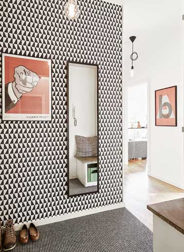 D co couloir en noir et rouge pour un style graphique - Papier peint effet miroir ...