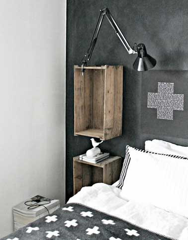 d co r cup avec des caisses en bois comme table de nuit. Black Bedroom Furniture Sets. Home Design Ideas