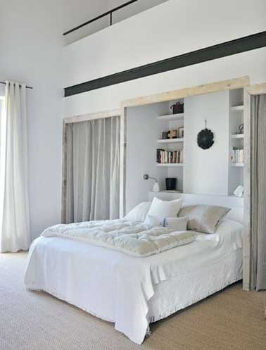 dressing niche murale et rideaux dans chambre parentale. Black Bedroom Furniture Sets. Home Design Ideas