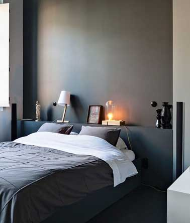 fabriquer une t te de lit pratique avec tablette rangement. Black Bedroom Furniture Sets. Home Design Ideas