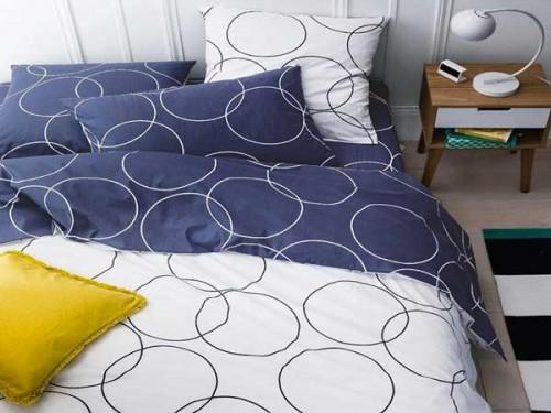 housse de couette imprim e bleu blanc la redoute. Black Bedroom Furniture Sets. Home Design Ideas