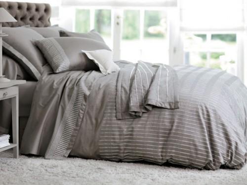 housse de couette taupe en satin carr blanc paris. Black Bedroom Furniture Sets. Home Design Ideas