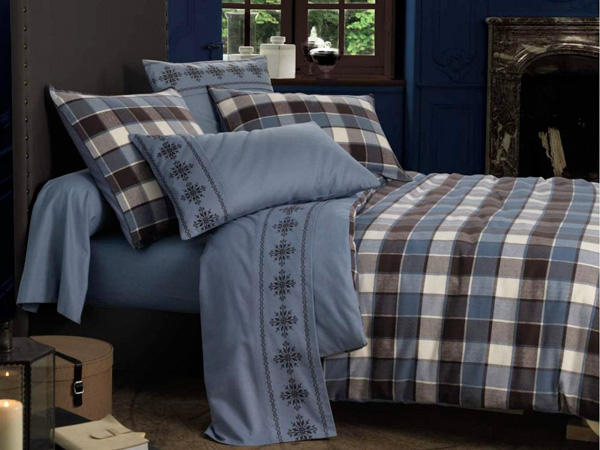 linge de lit bleu motif carreaux linvosges. Black Bedroom Furniture Sets. Home Design Ideas