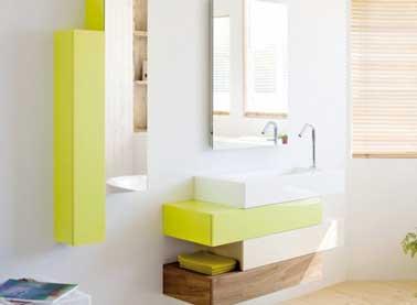 Meuble vasque pour rangement d 39 une petite salle de bain - Petit meuble mural salle de bain ...