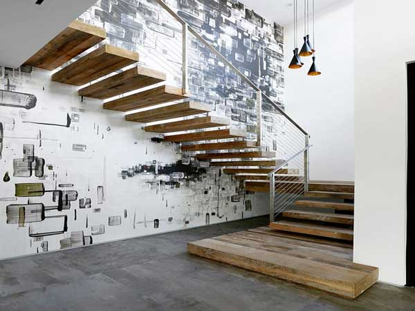 mur deco street art pour sublimer la cage d 39 escalier. Black Bedroom Furniture Sets. Home Design Ideas