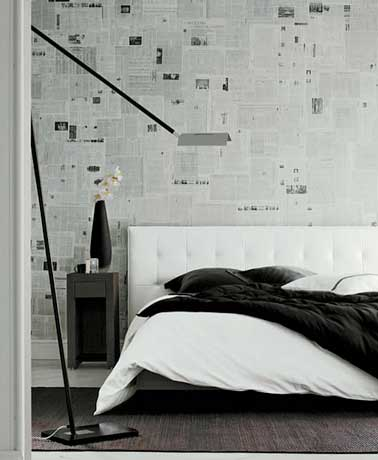 papier peint journal pour une d co de chambre design. Black Bedroom Furniture Sets. Home Design Ideas