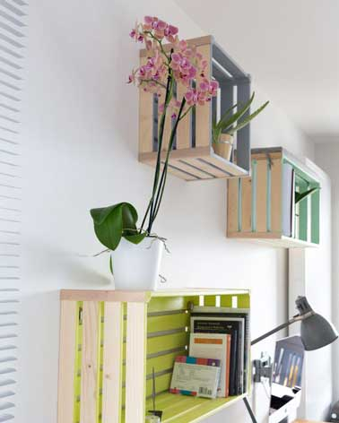 Peindre des caisses en bois pour faire un rangement - Fabriquer des etageres en bois ...