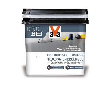 La gamme de peinture sol carrelage Déco Lab V33 est disponible en 10 nuances de couleurs sobres et 3 teintes métallisées pour décorer tous les sols de la maison