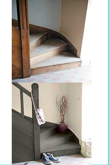 Peinture escalier gris anthracite pour relooking V33 |