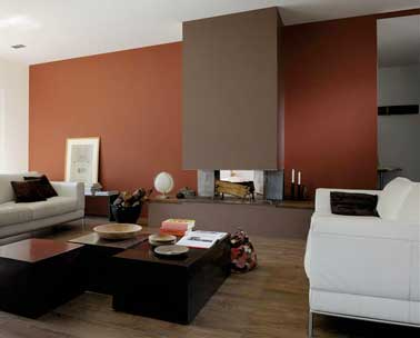 peinture salon cosy rouge brique et couleur taupe. Black Bedroom Furniture Sets. Home Design Ideas