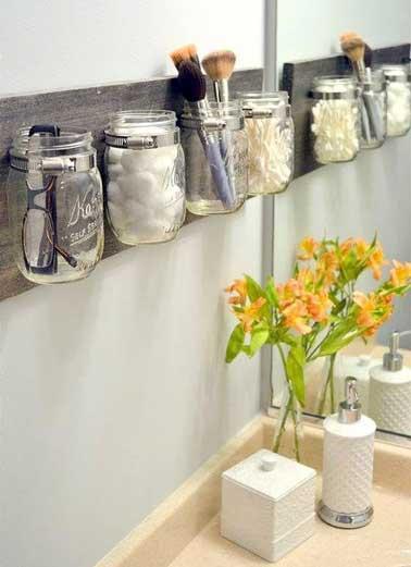 10 rangements salle de bain pour un gain de place maxi - Rangement salle de bain bois ...