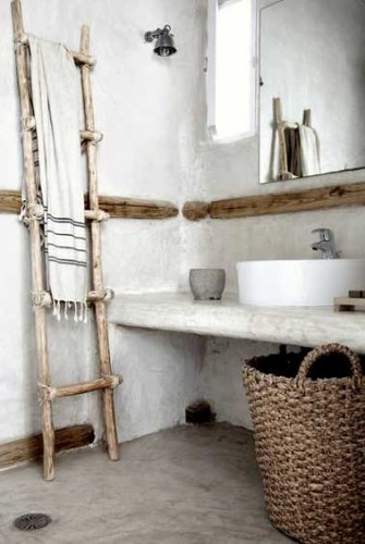 Rangement salle de bain avec panier et porte serviette - Panier rangement salle de bain ...