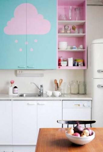 repeindre des meubles de cuisine en couleur pastel. Black Bedroom Furniture Sets. Home Design Ideas